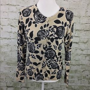 Charter Club Floral Cardigan Sweater Size PS